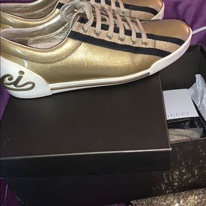 Gucci Gold Sneakers👓